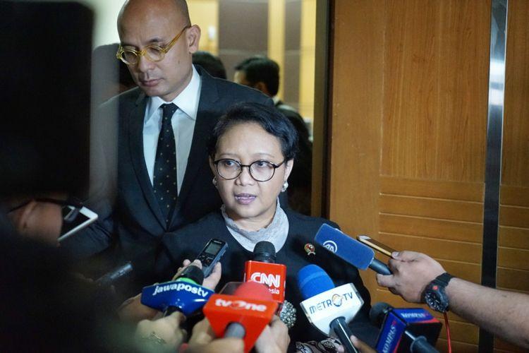 Menteri Luar Negeri Retno Marsudi saat ditemui seusai Rapat Kerja dengan Komisi I DPR, di Kompleks Parlemen, Senayan, Jakarta, Kamis (31/5/2018).