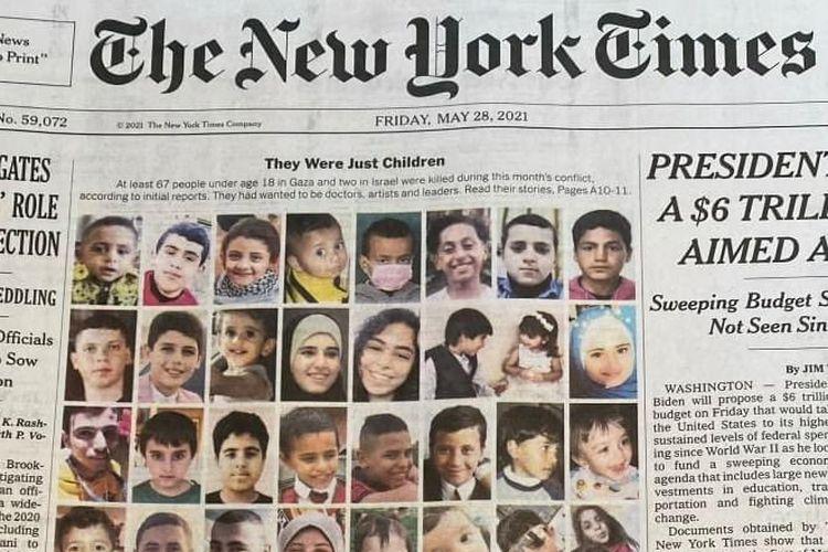 Foto anak-anak yang tewas akibat konflik di Jalur Gaza dijadikan halaman utama New York Times, Jumat (28/5/2021).