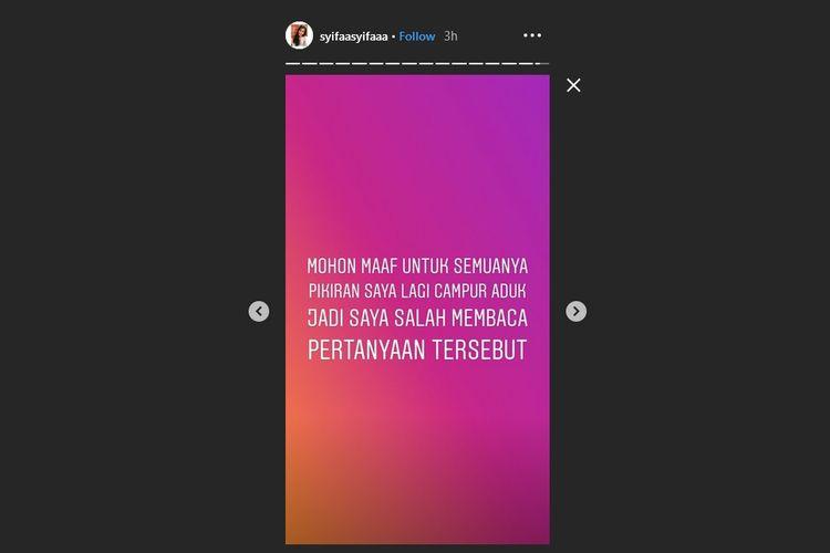 Bidik layar Instagram Story adik Ayu Ting Ting, Syifa, yang menjadi viral.