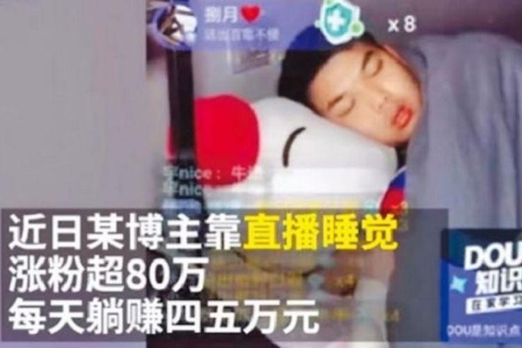 Yuansan tidur di videonya pada platform Douyin awal Februari kemarin dan tidak menyangka berhasil viral (oddity central).