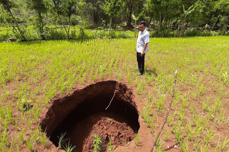 Muncul Lubang di Lahan Pertanian di Desa Karangawen, Kecamatan Girisubo, Kabupaten Gunungkidul. Senin (6/1/2020)