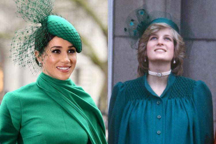 Gaun hijau monokrom yang dipilih Meghan Markle dan Putri Diana.
