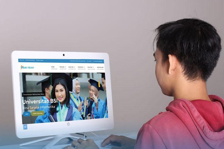 Ilustrasi pendaftaran mahasiswa baru melalui laman web pendaftaran.bsi.ac.id.