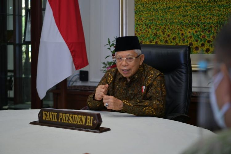 Wakil Presiden Ma'ruf Amin di acara Rapat Koordinasi Nasional (Rakornas) Kepegawaian Badan Kepegawaian Nasional (BKN) 2021 secara virtual, Kamis (1/7/2021).