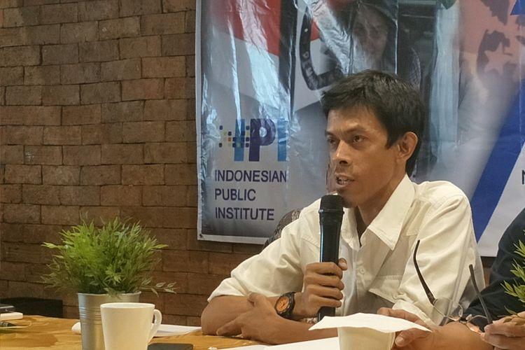 Pengamat Intelijen dan Keamanan Stanislaus Riyanta dalam diskusi yang digelar Indonesian Public Institute (IPI) di Cikini, Jakarta Pusat, Selasa (9/4/2019).