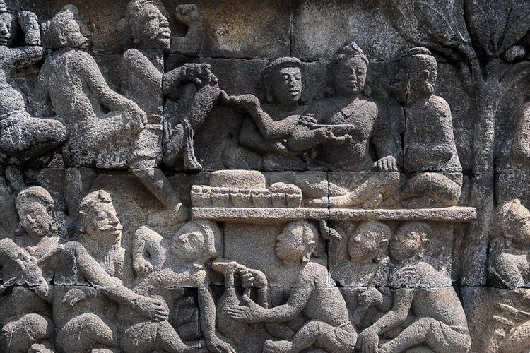 Ilustrasi relief Candi Borobudur.