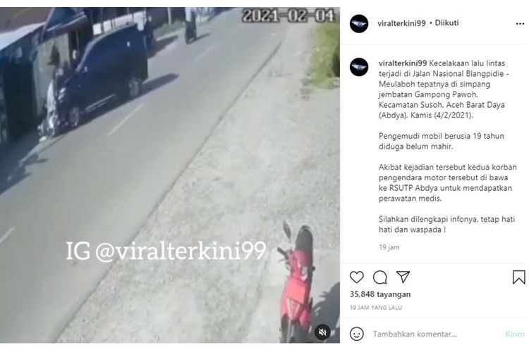 Diduga Belum Mahir, Pemuda 19 Tahun di Aceh Tabrakkan Avanza Milik Orangtuanya yang Baru Dibeli, Videonya Viral