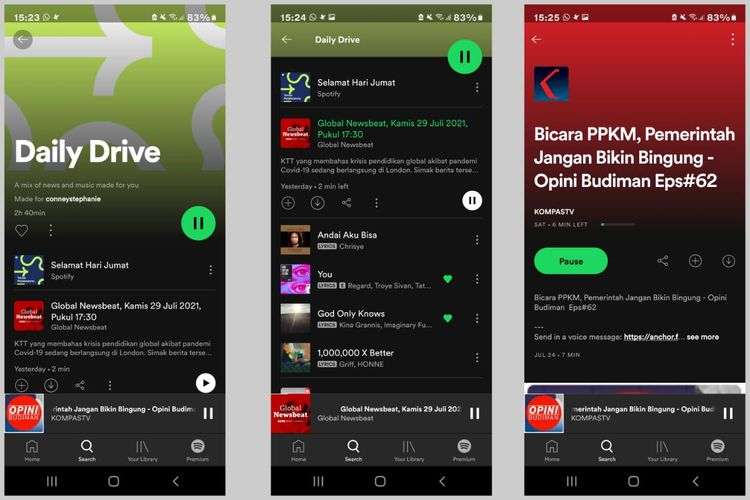 Fitur Teman Perjalananmu (Daily Drive) di aplikasi Spotify