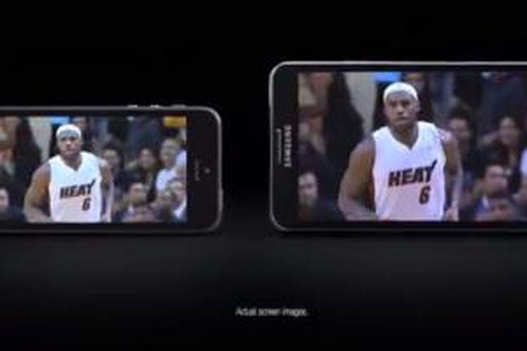 Potongan iklan Galaxy Note 3 dari Samsung yang menyindir Apple iPhone