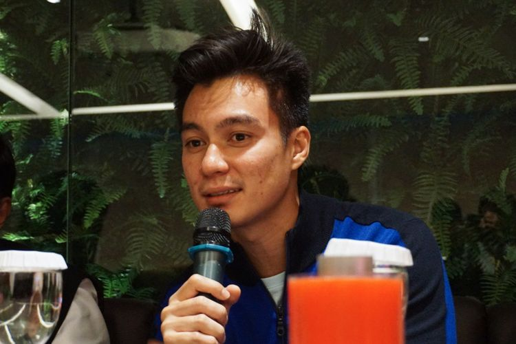 Artis peran Baim Wong saat diabadikan dalam jumpa pers Film Film Unggulan MVP Pictures Siap Tayang 2018 di MVP Tower, Kuningan, Jakarta Selatan, Jumat (23/2/2018).