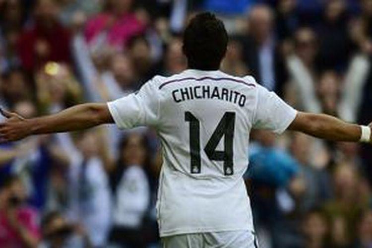 Javier Hernandez rayaran gol pertamanya di Santiago Bernabéu.