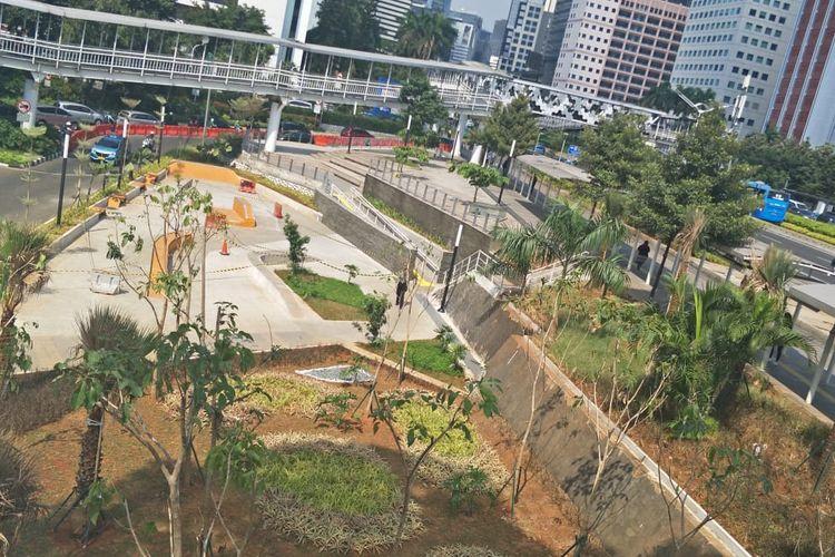 Pemprov DKI Jakarta menyiapkan ruang terbuka hijau baru bernama Taman Dukuh Atas, di Jalan Sudirman.