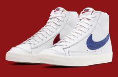 Sneaker Nike Blazer Mid '77 Pakai Swoosh Kulit Ular Merah-Biru