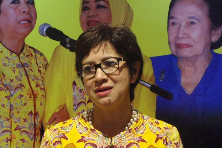 Ketua DPP Partai Golkar Nurul Arifin di sela workshop KPPG di Hotel Sultan, Senayan, Jakarta, Jumat (25/8/2017).