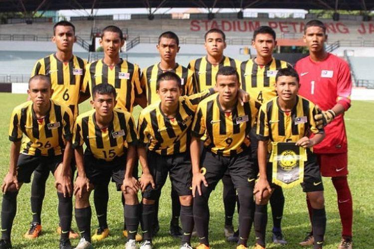 Skuat timnas U-16 Malaysia dalam uji coba melawan timnas U-16 Indonesia pada 23 Juli 2018.
