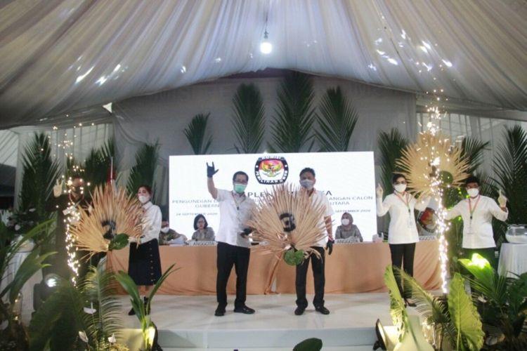 Pasangan calon gubernur dan wakil gubernur peserta Pilkada Sulut 2020 usai mencabut nomor urut, Kamis (24/9/2020)