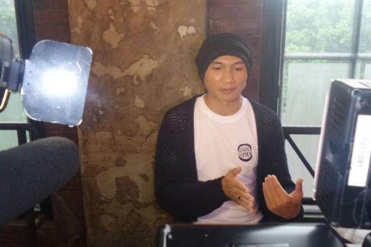 Anji saat menghadiri perilisan single Generasi Suara di H Gourmet & Vibes, Gunawarman, Jakarta Selatan, Kamis (2/2/2017). Lagu itu dibuat untuk menyuarakan dukungan terhadap musik Tanah Air.