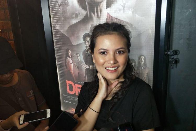 Marsha Aruan dalam jumpa pers peluncuran poster dan trailer film Dreadout di CGV Grand Indonesia, Thamrin, Jakarta Pusat, Jumat (30/11/2018).