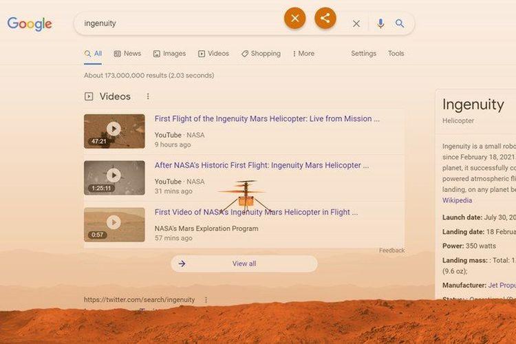 Ilustrasi helikopter Ingenuity yang mejeng di laman hasil pencarian Google.
