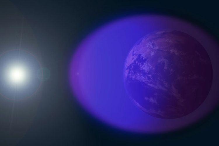 Visualisasi lapisan ionosfer bumi yang menghadap dan tidak menghadap matahari