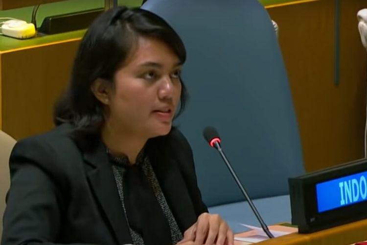 Diplomat perwakilan Indonesia, Silvany Austin Pasaribu saat memberikan hak jawab untuk tuduhan Vanuatu tentang pelanggaran HAM di Papua.