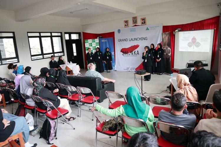 Peluncuran Student Company PT AIG Insurance Indonesia dan Prestasi Junior Indonesia (PJI) di Aula SMKN 38 Jakarta, Selasa (28/5/2019).