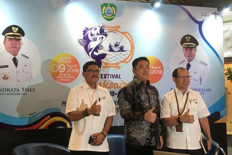 Konferensi pers Festival Maksaira 2018 yang akan berlangsung di Pantai Wai Ipa hingga pantai Desa Bajo, Kabupaten Kepulauan Sula, Provinsi Maluku Utara pada Minggu 15 April 2018, Jakarta, Senin (9/4/2018).