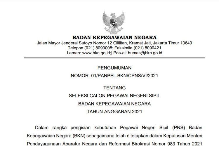 Pengumuman seleksi CPNS 2021 di Badan Kepegawaian Negara (BKN).