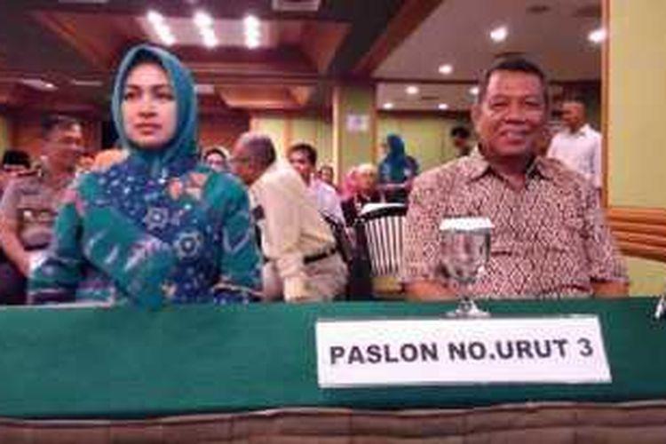 Pasangan Airin-Benyamin saat dikukuhkan menjadi Wali Kota dan Wakil Wali Kota Tangsel terpilih, Jumat (22/1).