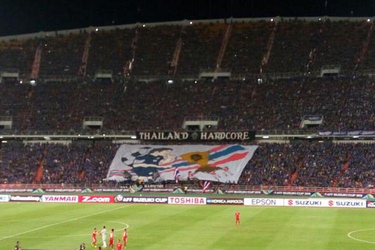 Suasana Stadion Rajamangala antara Thailand dan Indonesia jelang final kedua Piala AFF 2016, Sabtu (17/12/2016).
