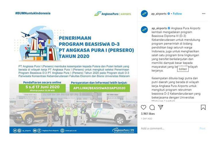 Penerimaan program beasiswa D3 PT Angkasa Pura 1 (Persero) Tahun 2020.
