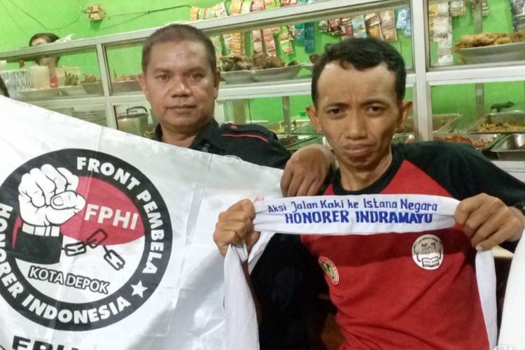 Sukma, buruh asal Indramayu yang jalan menuju Istana Negara, Kamis (25/10/2018).