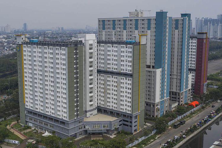 Foto aerial suasana Wisma Atlet Pademangan di Jakarta, Minggu (27/9/2020). Pemerintah telah menyiapkan tower 8 Wisma Atlet Pademangan sebagai lokasi isolasi mandiri bagi OTG COVID-19 dengan kapasitas 1.548 pasien.