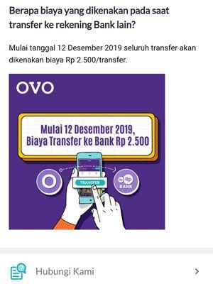 Tangkapan layar informasi pembebanan biaya transfer antar-bank di aplikasi Ovo.