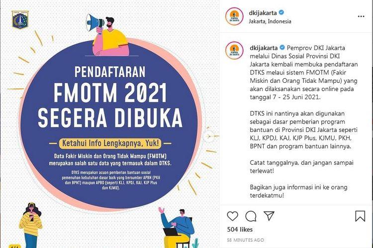 Akun Pemprov DKI Jakarta membuka FMOTM 2021.
