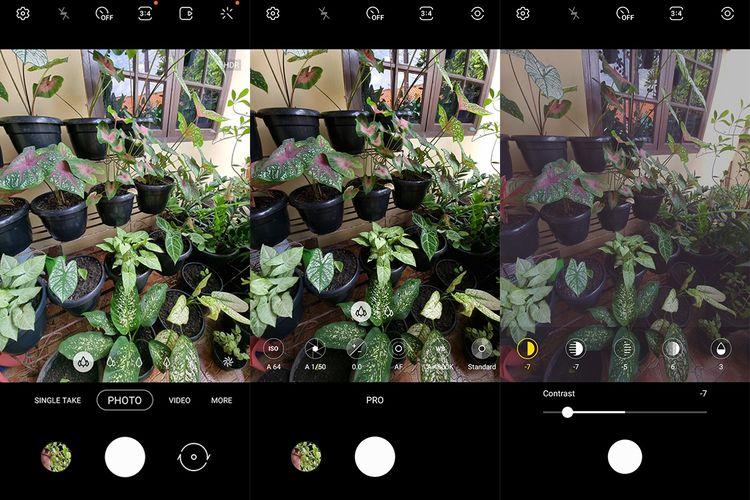 En comparación con el modo de fotografía estándar (izquierda), el modo Pro (centro y derecha) de la aplicación Galaxy S21 Ultra Camera ofrece una gama mucho más amplia de opciones de configuración de imagen.