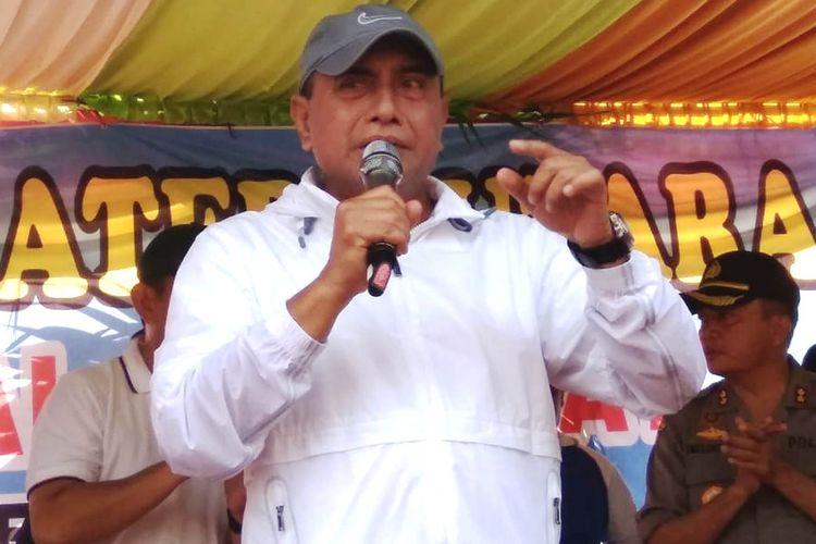 Gubernur Sumut Edy Rahmayadi saat memperingati Hari Buruh Internasional di LPP Kampus Medan, Jalan Rumah Sakit Haji Medan, Rabu (1/5/2019)