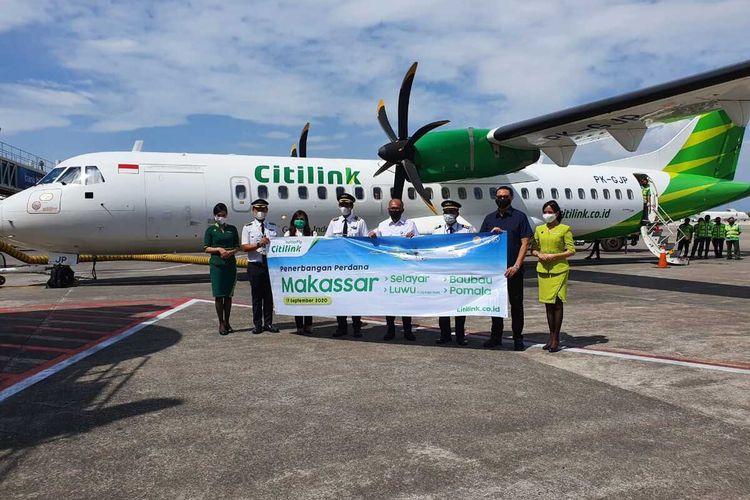 Pesawat Citilink mendarat perdana di bandara Palopo, Sulawesi Selatan, Kamis (17/9/2020).