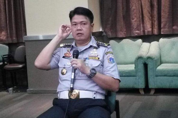 Kepala Dinas Perhubungan dan Transportasi Jakarta, Andri Yansah seusai rapat evaluasi penghapusan Three in One di Kantor Dishubtarans pada Kamis (14/4/2016).