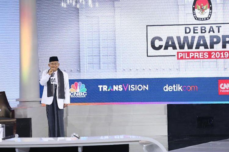 Calon wakil presiden nomor urut 01 Maruf Amin berbicara dalam debat ketiga Pilpres 2019 di Hotel Sultan, Jakarta, Minggu (17/3/2019) malam. Peserta debat ketiga kali ini adalah cawapres masing-masing paslon dengan tema yang diangkat adalah pendidikan, kesehatan, ketenagakerjaan, sosial, dan budaya.
