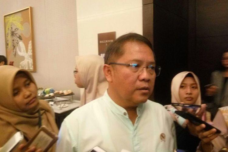 Menteri Kominfo Rudiantara di Hotel Fairmount, Jumat (10/8/2018)