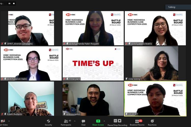 HSBC Business Case Competition 2021, mengumumkan pemenang kompetisi (1/4/2021). Pemenang akan mewakili Indonesia melawan tim dari negara-negara Asia Pasifik dan sekitarnya dalam ajang Business Case Competition tingkat internasional.