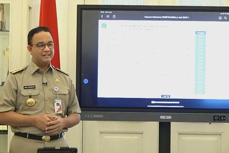 Gubernur DKI Jakarta Anies Baswedan saat konferensi pers terkait PSBB masa transisi di Balai Kota DKI Jakarta, Kamis (4/6/2020)