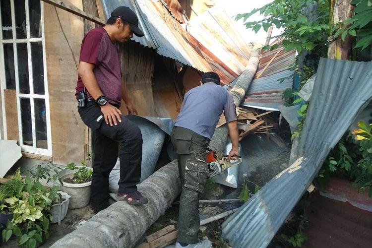Pohon kelapa tumbang menghancurkan rumah warga di Parak Jigarang, Kuranji, Padang, Sabtu (6/7/2019)