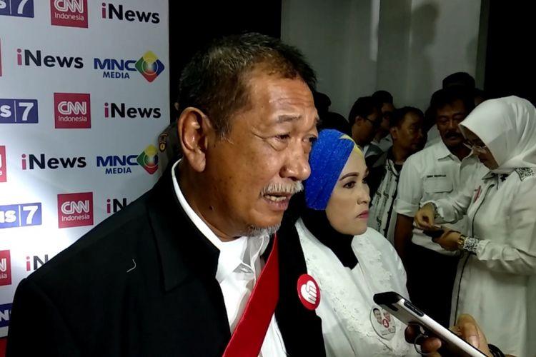 Deddy Mizwar bicara di awal debat Pilgub Jawa Barat, Senin (14/5/2018).