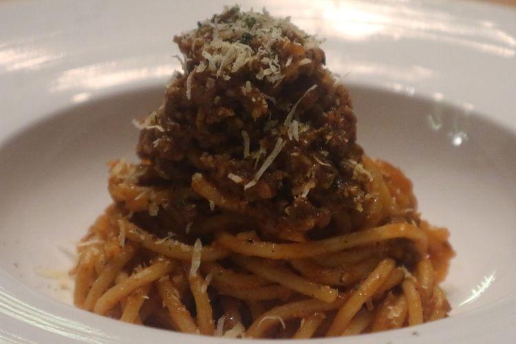 Salah satu menu pasta Korea Fusion di Restoran Shin The Korean Grill yaitu Spicy Spaghetti Bolognese, Kamis (12/12/2019).