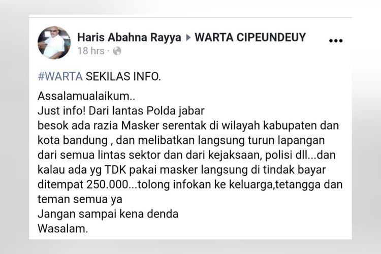 Sebuah unggahan di Facebook menyatakan akan ada razia masker di kabupaten/kota Bandung. Kabar ini tidak benar.
