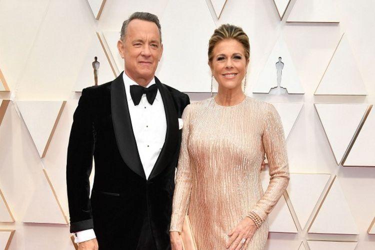 Pasangan aktor Tom Hanks and Rita Wilson menghadiri Academy Awards 2020 di Hollywood and Highland, Hollywood, California, pada 9 Februari 2020.