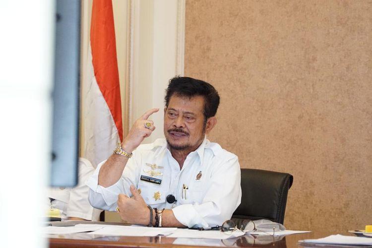 Menteri Pertanian (Mentan) Syahrul Yasin Limpo saat memberikan sambutan pada Musyawarah Perencanaan Pembangunan Pertanian (Musrenbangtan) Nasional 2021 lewat telekonferensi, Rabu (21/07/2021).