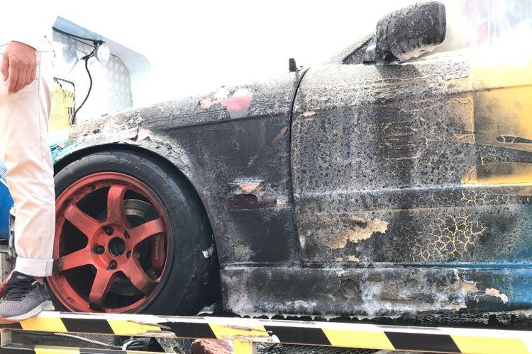 Mobil Balap M Fadli yang kebakar di ISSOM 2018